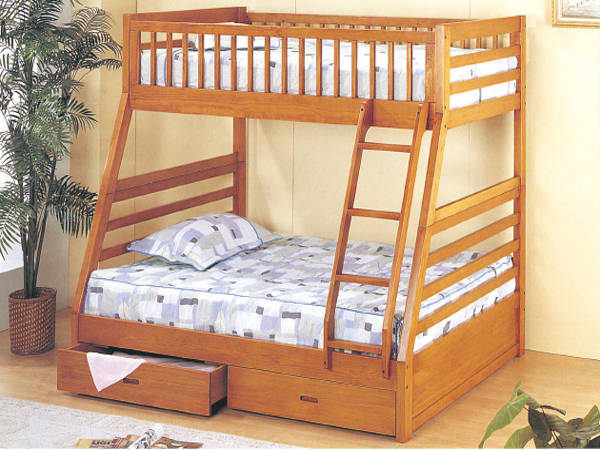 Twin full bunk bed with drawers oak color casye for Bunk bed and bang