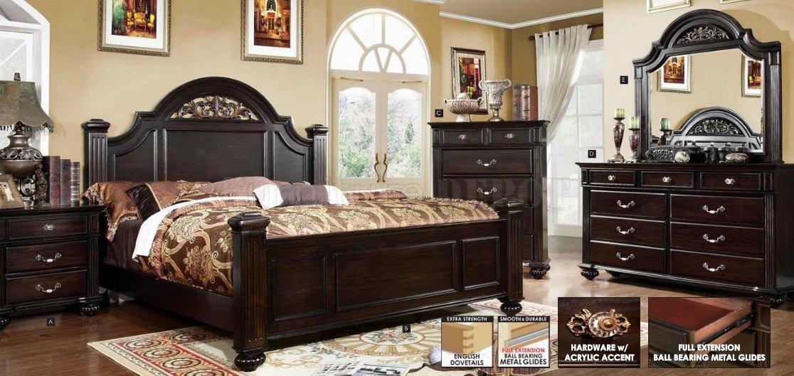 5pc Bedroom Set Syracuse Collection Dark Walnut Finish Casye Furniturecasye Furniture